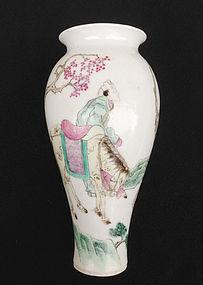 Chinese Republic period semi-eggshell Famille rose vase