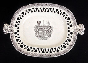 English crested platter, transfer printed, 1870's