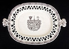 English transfer printed and crested platter, Victorian