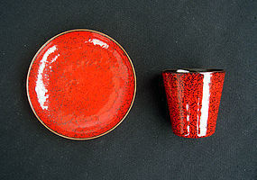 1950�s Italian enamel small cup and saucer dish