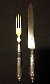 Carving set from the 1880�s, French silver and ivory