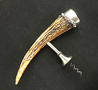 American stag horn & sterling silver corkscrew, antique