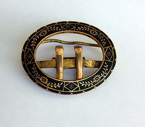 Enamel and brass clasp, French, 19th century