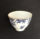 Blue & white Qianlong wine cup, decorated in European style