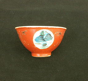 Coral red tea bowl, Chinese, late 19th century