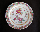 Famille Rose lobed plate with Deutsche Blumen / German flowers