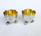 Pair of cracked egg silver salts