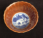 Batavia ware: Chinese blue and white & Capucine brown cup, Kangxi