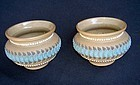 English Doulton Lambeth: pair of Silicon jars, Victorian