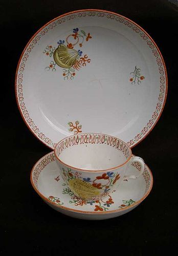 Yellow Shell tea cup, saucer & bowl by Ridgway, Staffordshire, c 1820