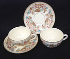 Zsolnay Pecs pair demitasse mocha cups and saucers