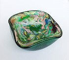 Murano AVEM silver flecks and green Tutti Frutti bowl