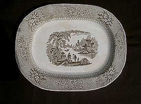 Brown and white platter by Carr & Sons