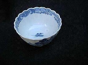 Chinese Export tea bowl, imitating English transferware