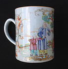 Tankard or shaving mug with Mandarin scene, Qianlong
