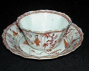Kangxi to Yongzheng octagonal tea bowl and saucer