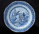 Pair of Chinese Export blue and white octagonal plates