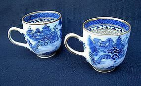 Pair of blue and white Chinese Export cups