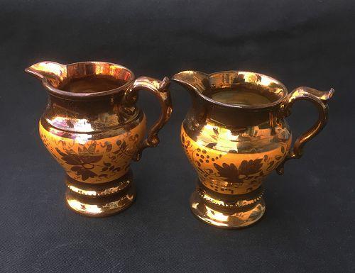 Staffordshire copper lustre cream jug