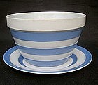 Cornishware bowl and saucers
