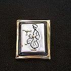 Aladdin vintage ceramic brooch