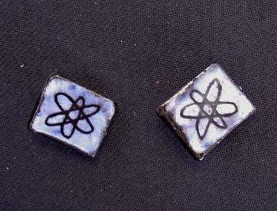 """Vintage """"atomic"""" ceramic earrings"""
