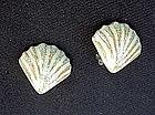 Green shell vintage ceramic earrings