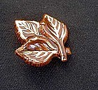 Leaf shaped vintage ceramic pin