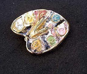 Palette vintage ceramic brooch