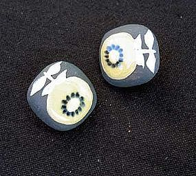 Vintage sunflower ceramic earrings