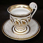 French or Belgian cup and saucer with gilt decoration