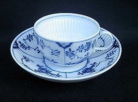Meissen 19th c. blue and white fluted cup and saucer