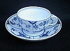 Meissen blue and white fluted cup and saucer