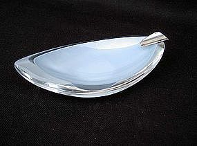 Cased glass and silver ash tray