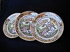 Staffordshire lustreware saucer dishes with Chinoiserie