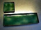 Paolo De Poli green enamel tray and small dish