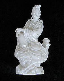 A blanc de Chine figurine of Guanyin