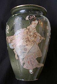 Japanese Satsuma style Geisha vase, Meiji