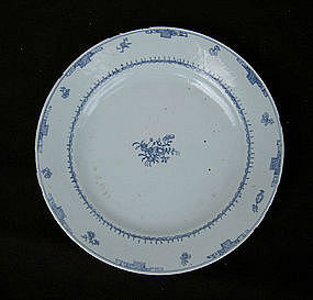 Unusual Chinese Export blue and white plate