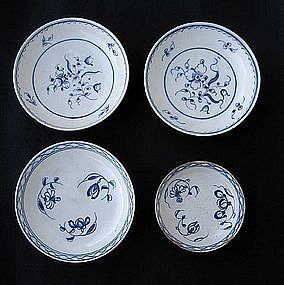 English Delft blue and white saucer bowls, Georgian