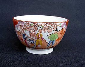 Georgian transfer-printed and painted tea bowl