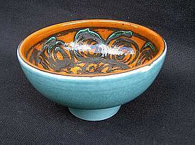 Poole Pottery orange and green Delphis bowl