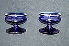 Pair of Norwegian Hadeland blue and white glass salts