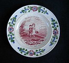 Child's plate with proverb, early 19th c