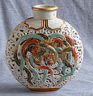 Japanese Satsuma Vase - Ryozan  Rare Reticulated Form