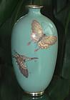 Japanese Cloisonne Enamel Butterfly Vase - Ota