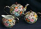 Beautiful Old Chinese Porcelain Tea Set Famille Noire