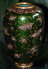 Japanese Cloisonne Enamel Vase with Butterflies - Honda