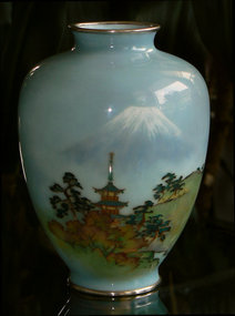 Fine Japanese Cloisonne Vase with Wireless Mt Fuji