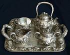 Japanese Silver Iris Tea Set w/Heavy Repousse -103 Oz